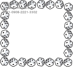 300x274 Clip Art Illustration Of A Page Border Made Of Dice