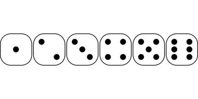 392x196 Dice Clipart Number One