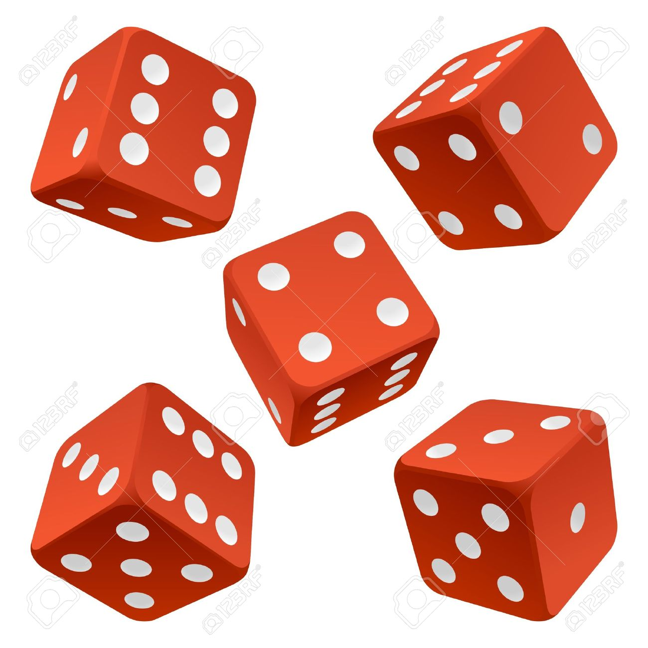1300x1300 Red Rolling Dice Set. Vector Icon Vector Rolling White Dice Set