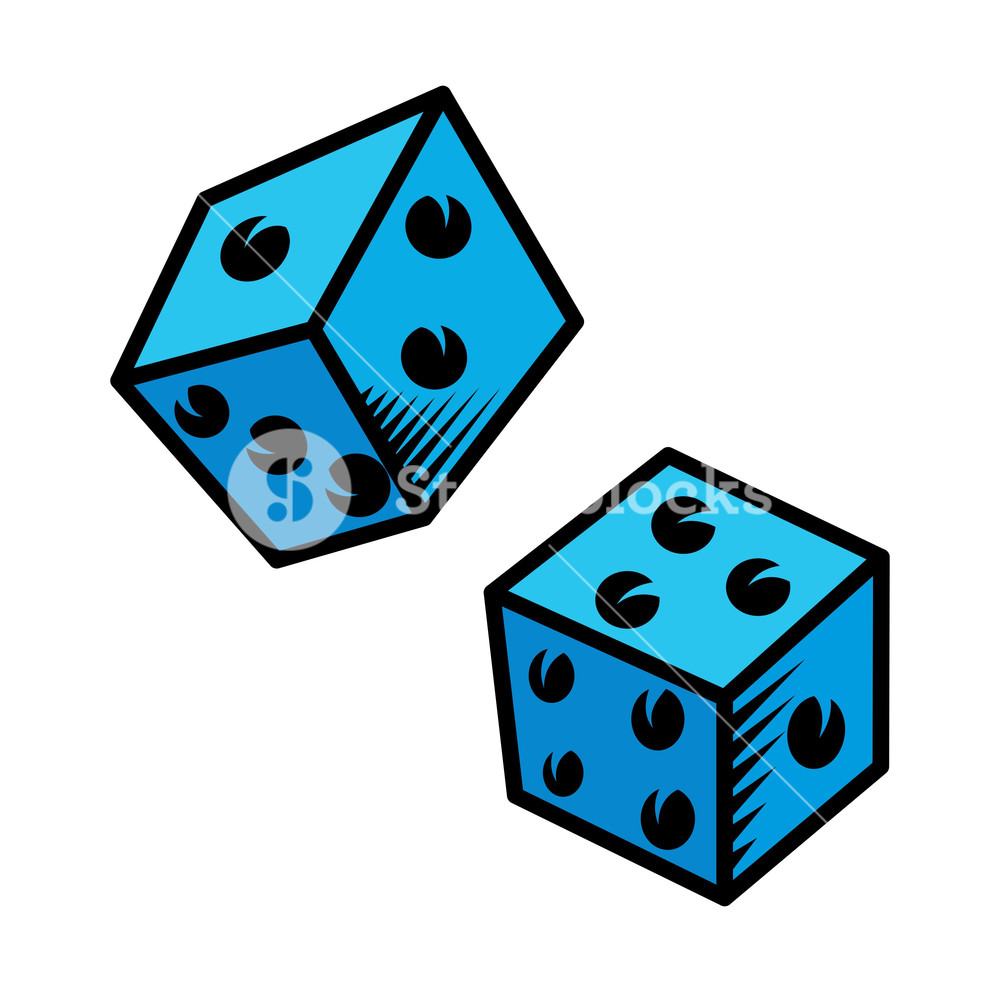 1000x992 Cartoon Dice Vector Illustration Royalty Free Stock Image