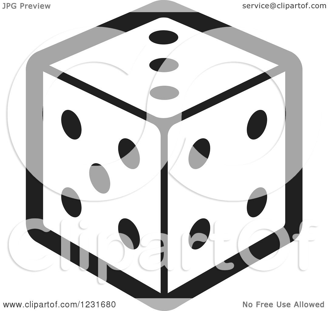 1080x1024 Clipart Of A Black And White Dice Icon