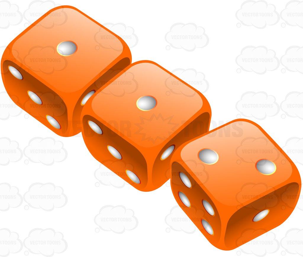1024x868 Three Glossy Orange Rounded Dice Cartoon Clipart