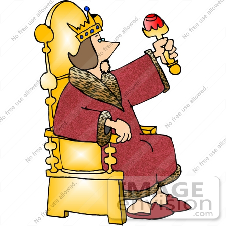 450x450 King Sitting On A Golden Throne, Wearing A Red Robe Clipart