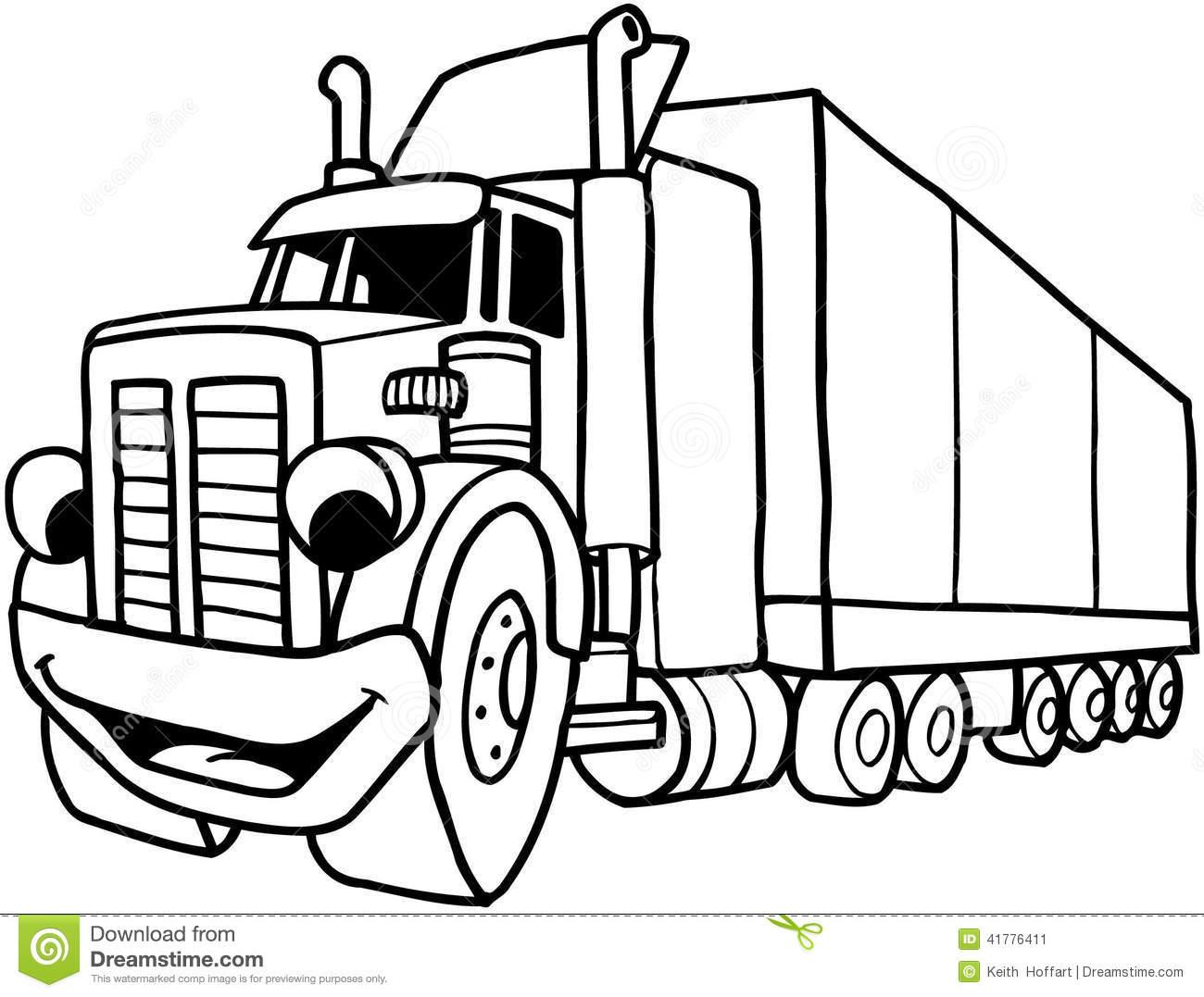 1300x1077 Semi Truck Black And White Clipart