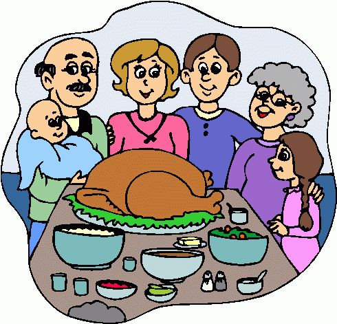 490x471 Family At Thanksgiving Dinner Clipart
