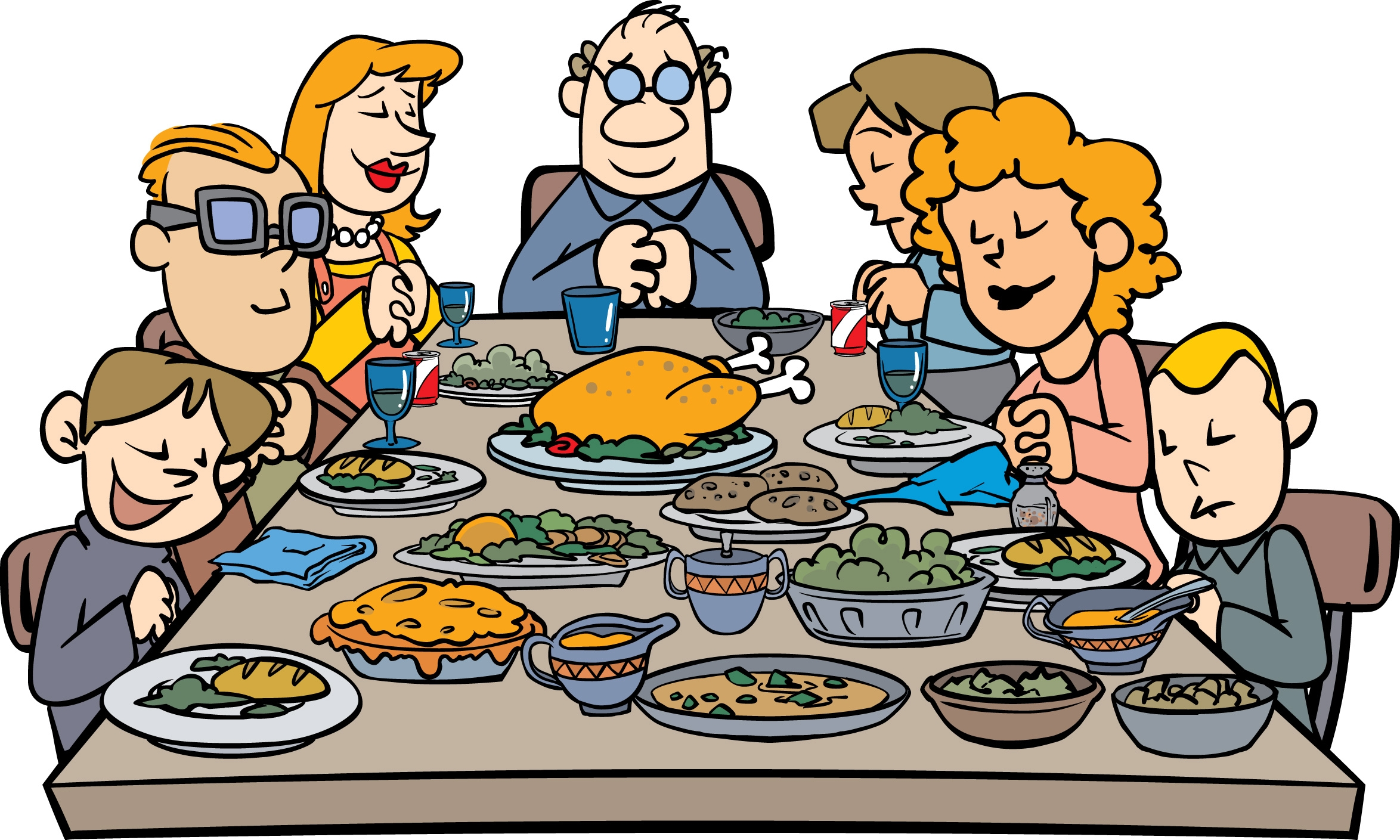 2348x1409 Family At Thanksgiving Dinner Clipart
