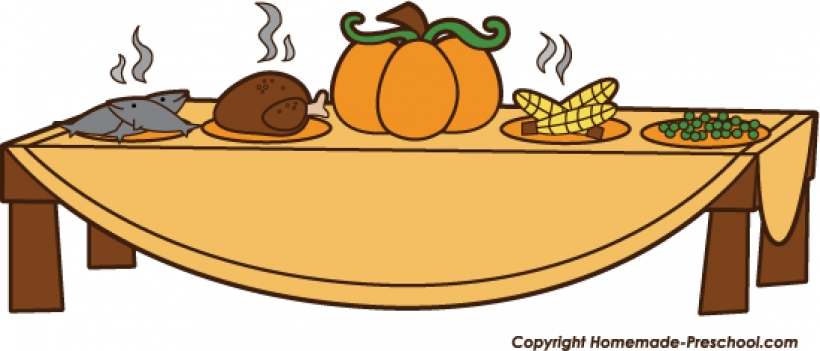 820x351 Free Clipart Of Thanksgiving Dinner