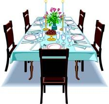 225x213 Dinner Table Clip Art Set Cliparts