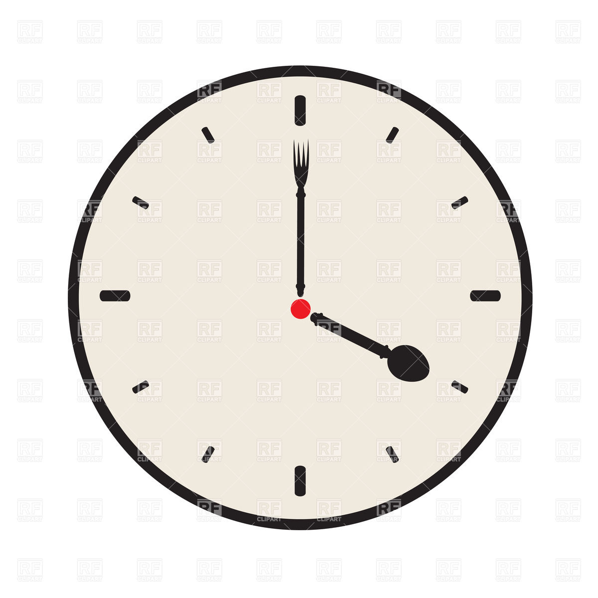 1200x1200 Simple Clock Dial With Fork And Spoon Instead Of Arrows