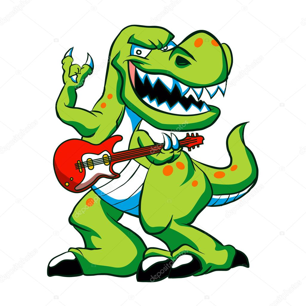 1024x1024 Dino Rock Plays A Guitar.dinosaur Cartoon. Stock Vector