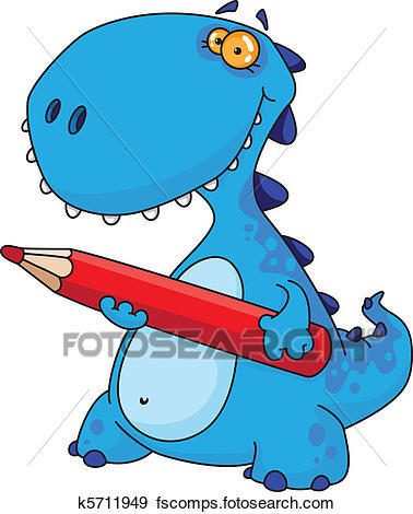 378x470 Clip Art of dinosaur with a pencil k5711949