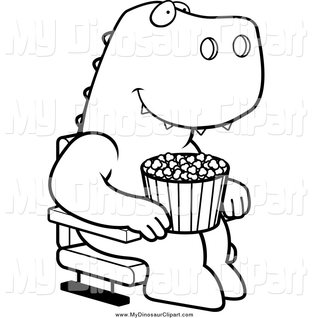 1024x1044 Clipart Of A Black And White T Rex With Popcorn