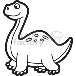 300x300 Royalty Free Brachiosaurus Dinosaur Cartoon In Black And White