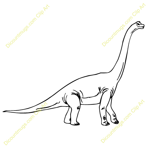 500x500 Brachiosaurus clipart black and white