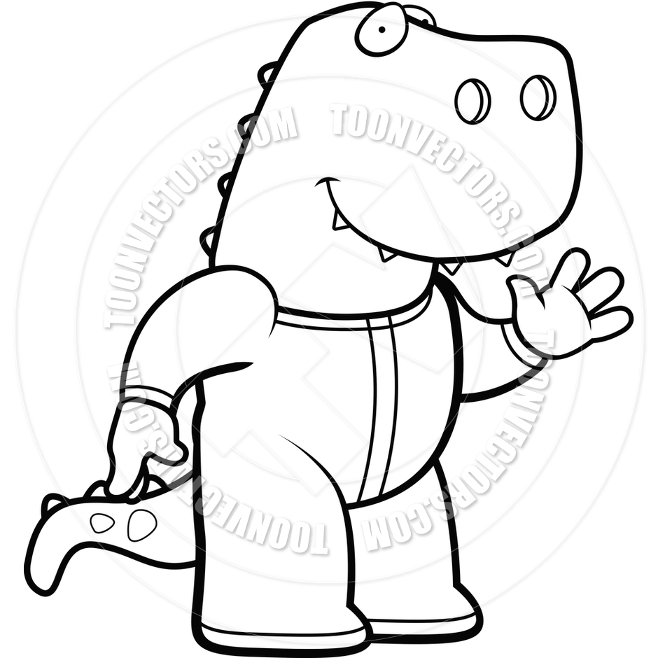 940x940 Cartoon Dinosaur Pajamas (Black and White Line Art) by Cory Thoman