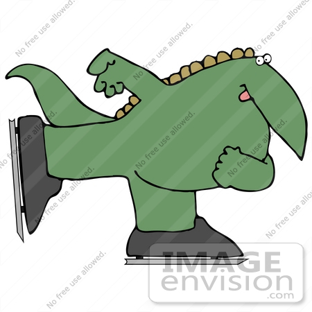 450x450 Clip Art Graphic Of A Happy Green Dinosaur Ice Skating