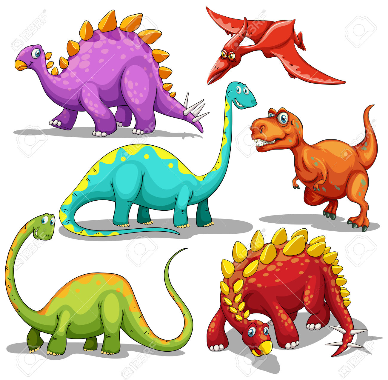 1300x1273 Different Type Of Dinosaurs Illustration Royalty Free Cliparts