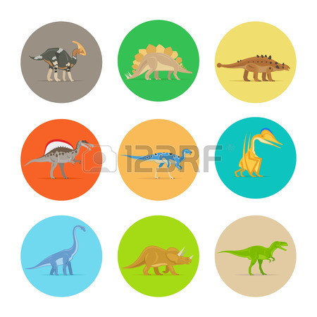 450x450 Dinosaur Icons Vector. Dinosaur Egg And Volcano, Dinosaur Skeleton