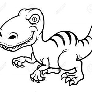 300x300 Illustration Of Cartoon Dinosaur Outline Royalty Cliparts