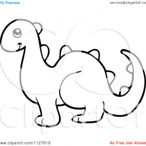 300x300 Illustration Of Cartoon Dinosaur Outline Royalty Cliparts