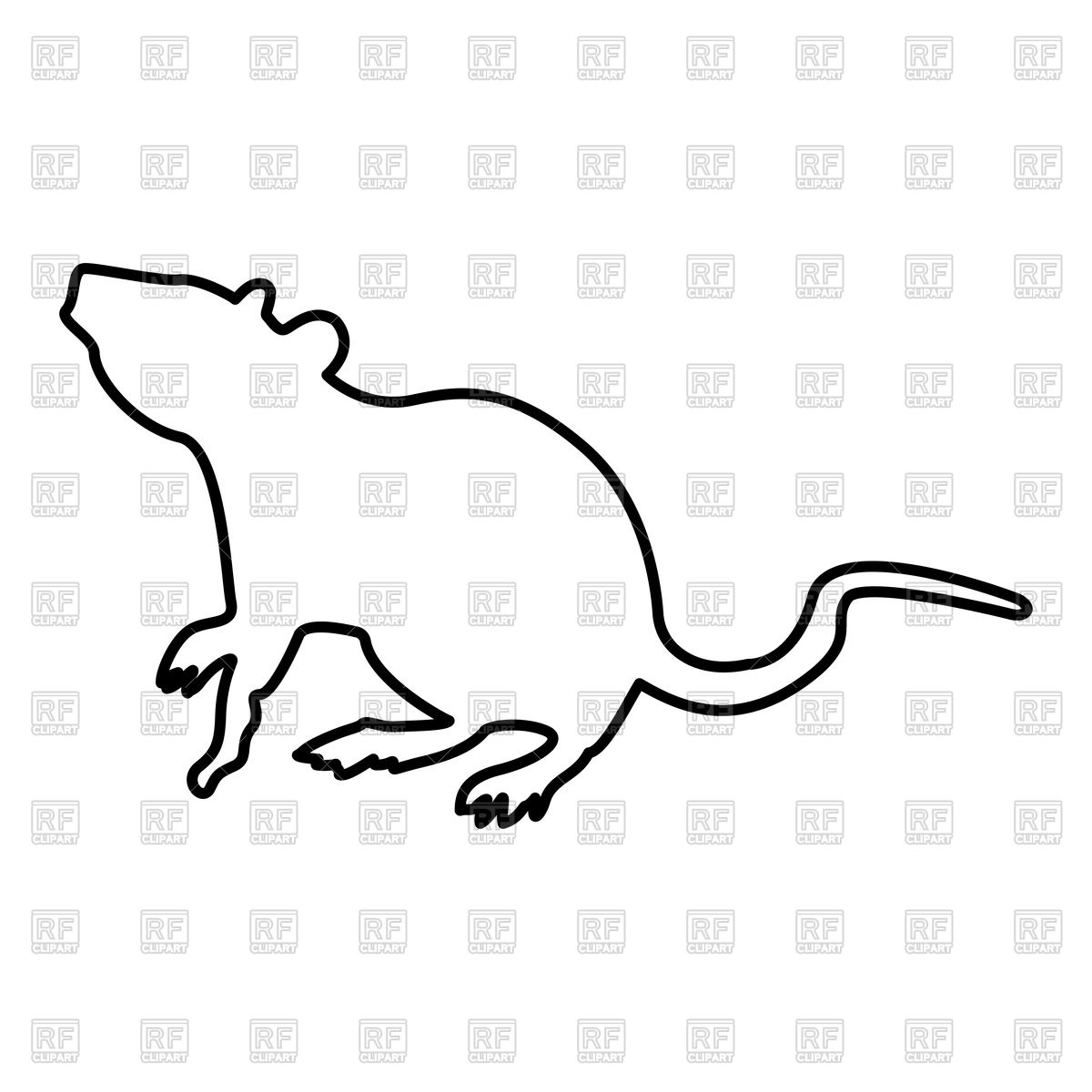 1200x1200 Rat Outline Royalty Free Vector Clip Art Image