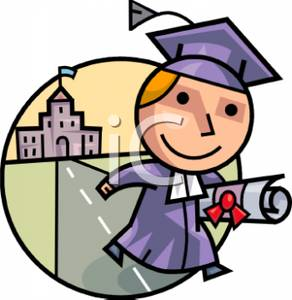 292x300 Picture A Smiling Student In a Cap and Gown with a Diploma