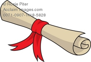 300x204 Clip Art Illustration Of A Rolled Up Scroll Tied With A Red Ribbon
