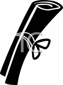 221x300 And White Diploma Clip Art Image