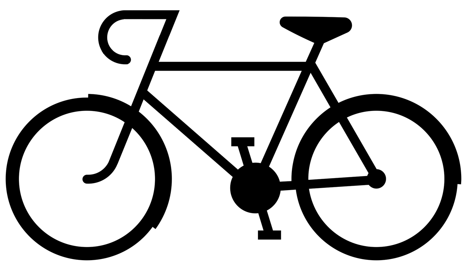 1600x911 Simple Drawing Of Bike Clip Art Bicycle Route Sign Black White