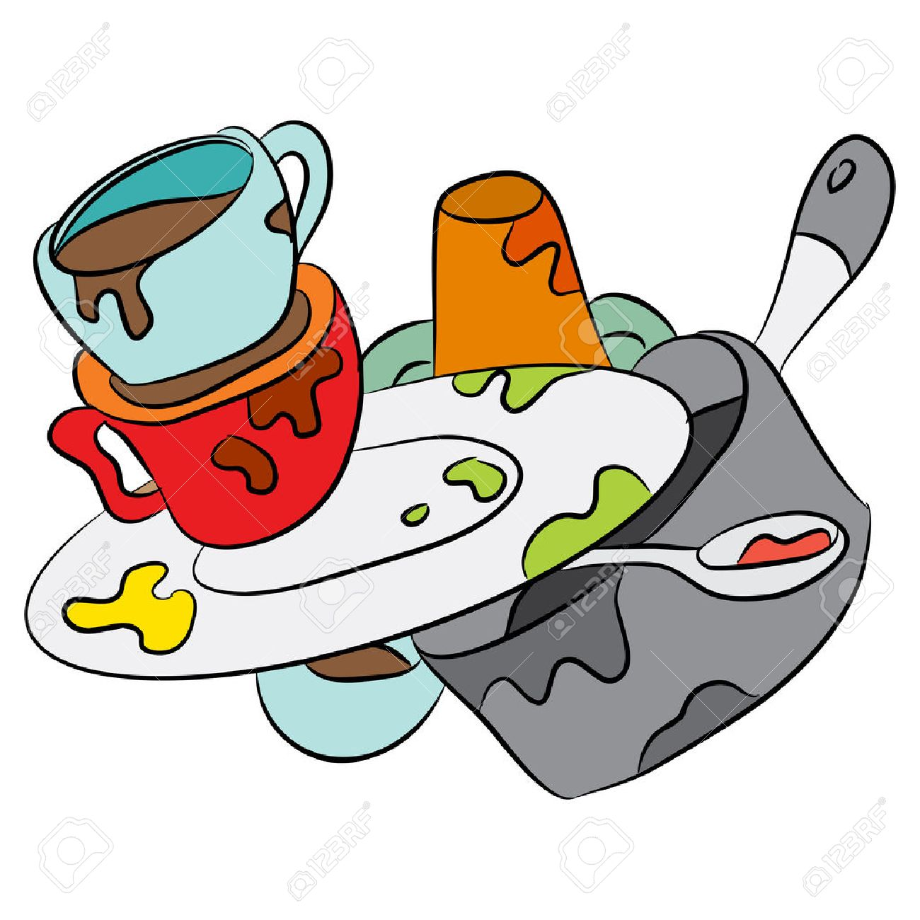 1300x1300 An Image Of A Cartoon Of Dirty Dishes. Royalty Free Cliparts