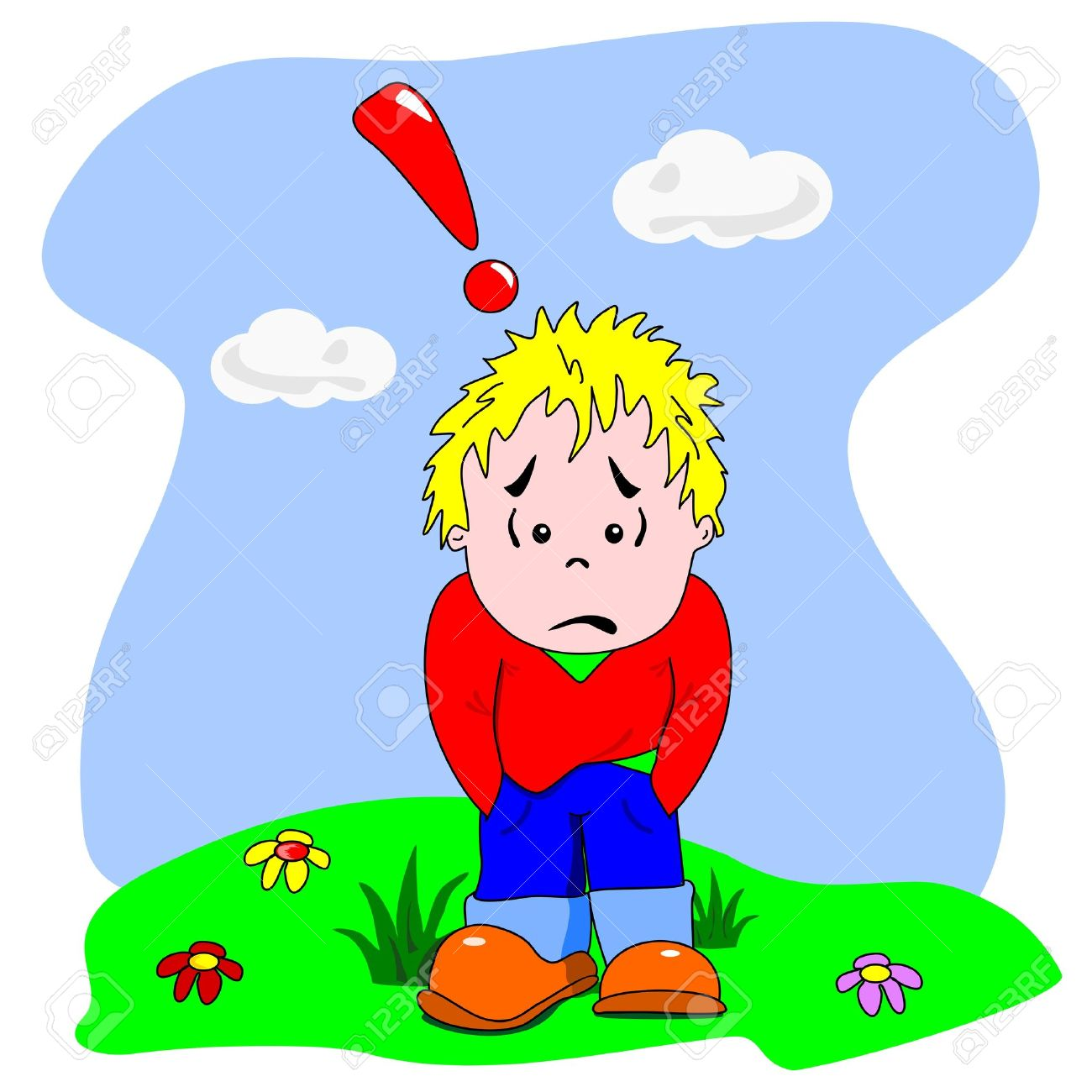 1300x1300 A Cartoon Vector Of A Sad Disappointed Young Boy Royalty Free
