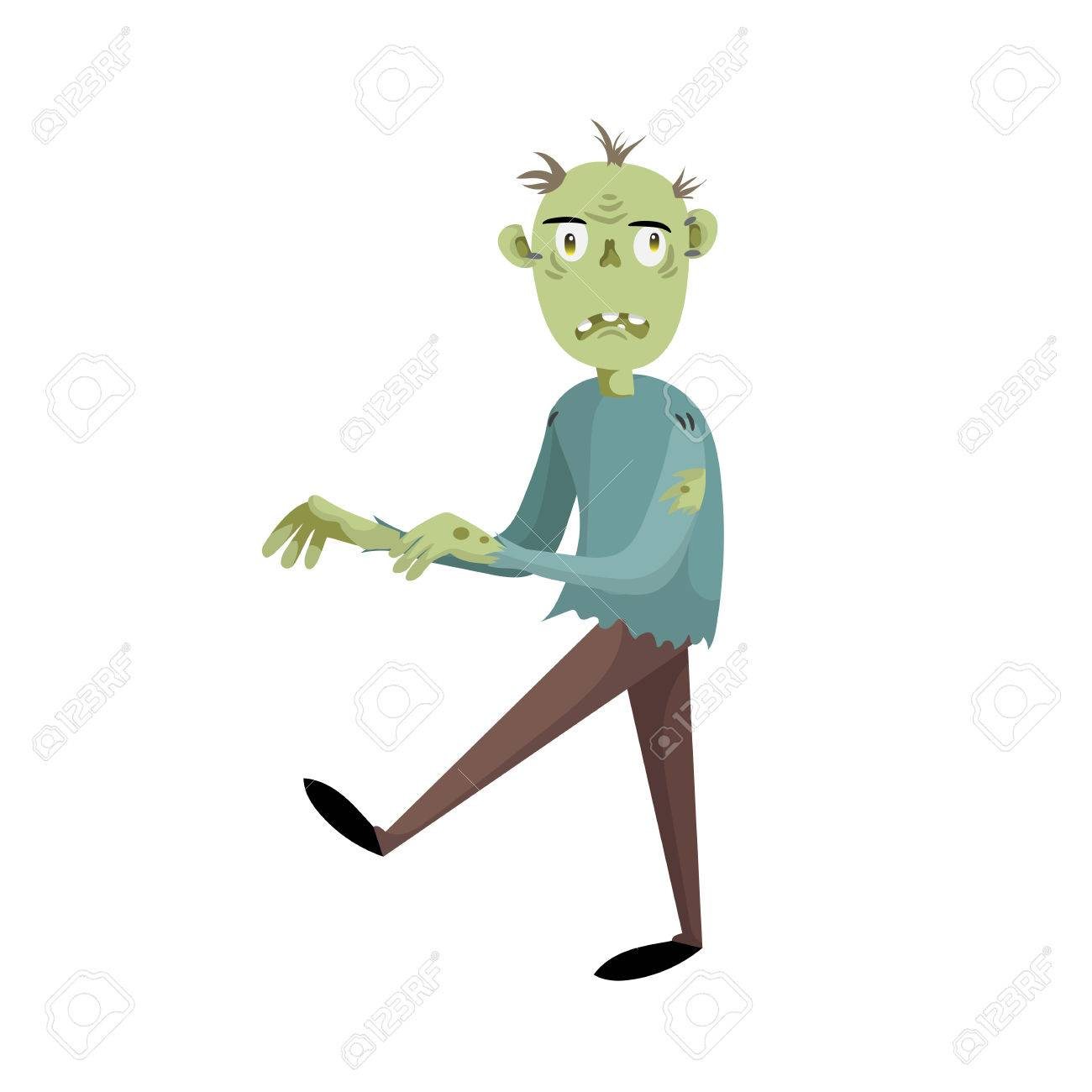 1300x1300 Walking Cartoon Man Disappointed Zombie Character. Halloween