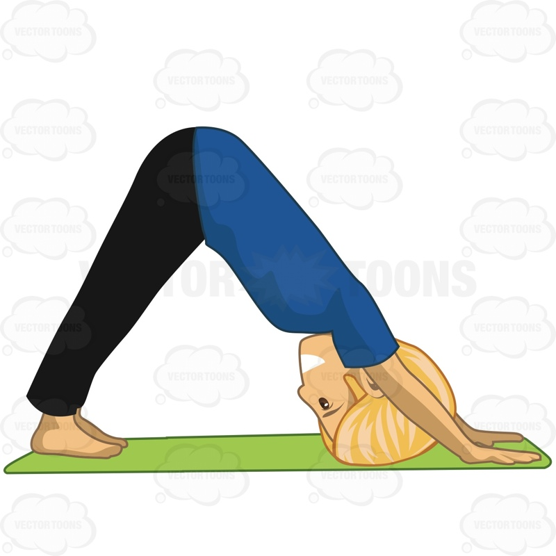 800x800 Man Doing Downward Dog Pose Cartoon Clipart