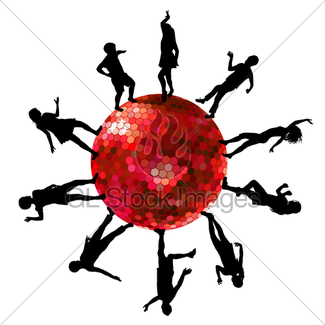 325x325 Silhouette Disco Ball Gl Stock Images