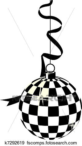 266x470 Clip Art Of Black And White Hanging Disco Ball K7292619