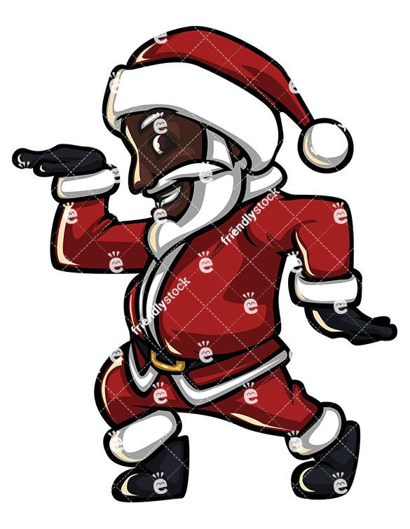 585x755 Groovy Black Santa Claus Disco Dancing Stock Vector Clipart