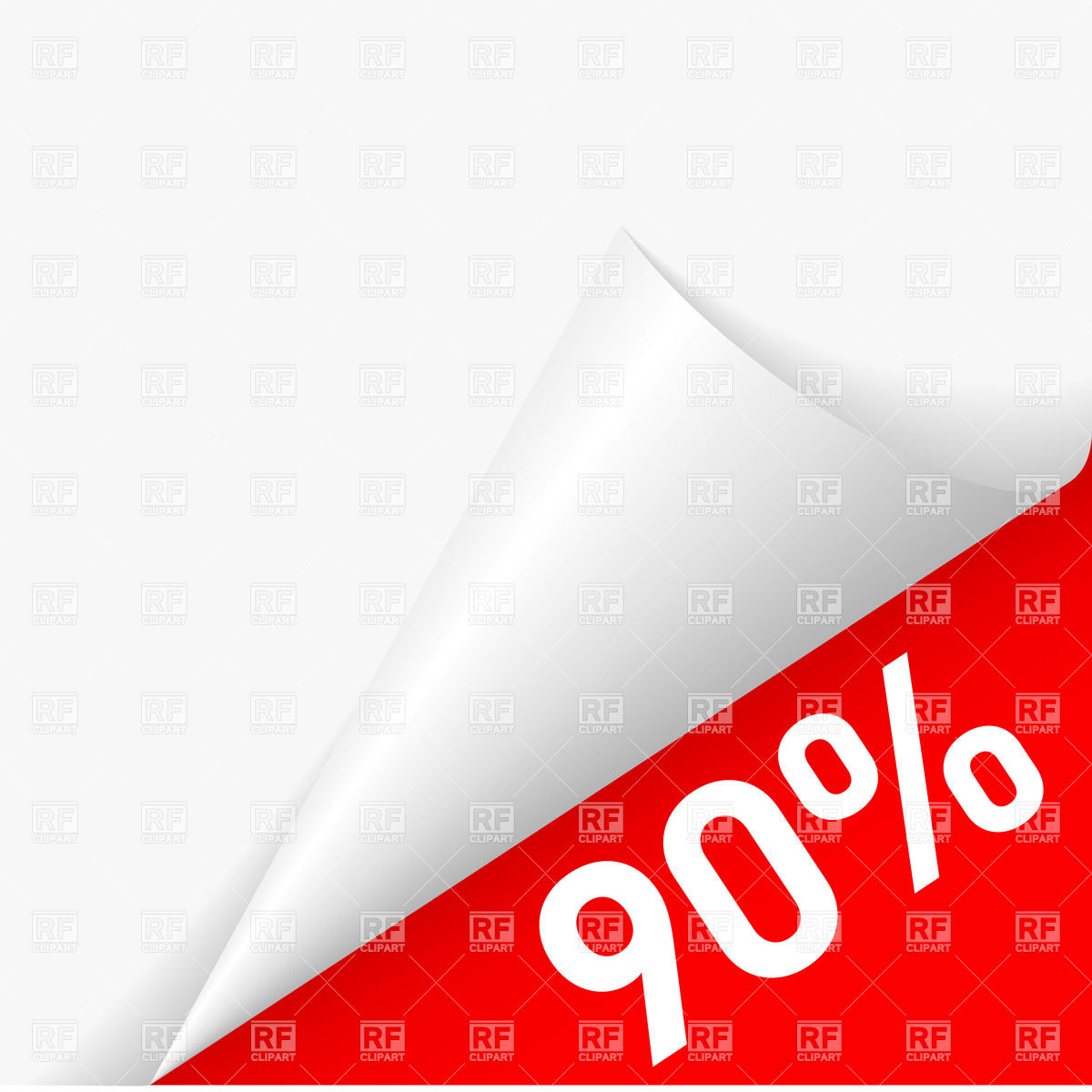 1200x1200 90 Percent Discount Under Folded Paper Corner Royalty Free Vector