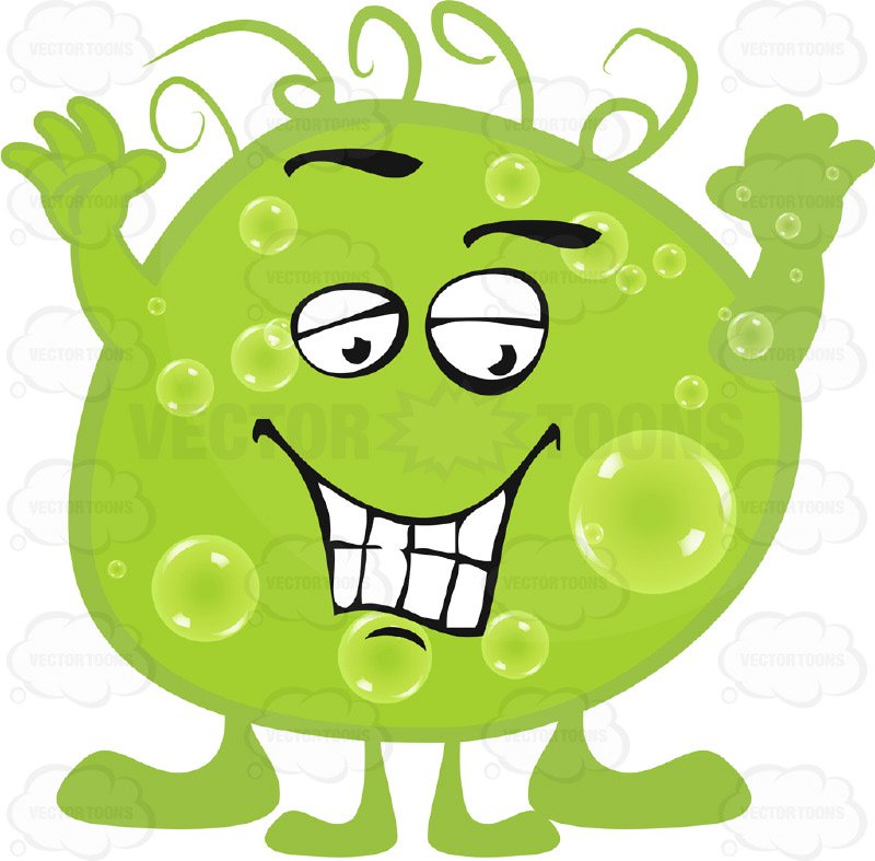 800x787 Green Blob Germ With Smiling Face And Hands In Air Cartoon Clipart