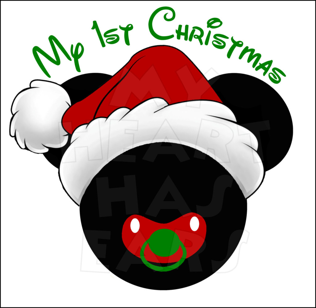 1024x1000 Baby Mickey Mouse 1st Christmas And Santa Hat Instant Download