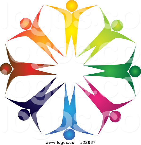 600x620 Royalty Free Vector Logo Of Diverse Teamwork People Forming
