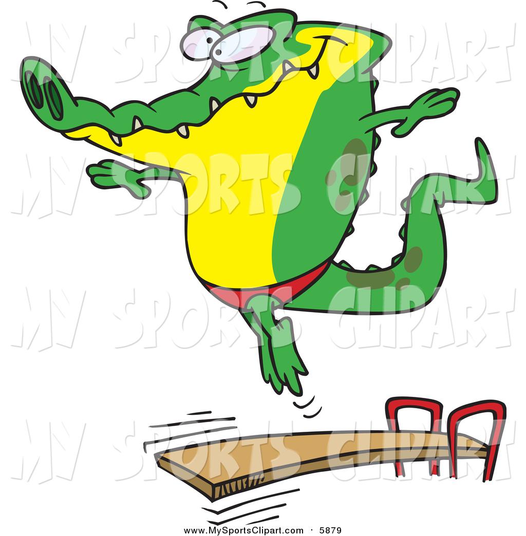 1024x1044 Sports Clip Art Of A Cartoon Alligator Bouncing Off A Diving Board