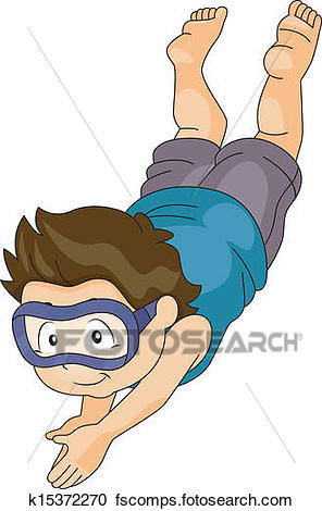 296x470 Clipart Of Kid Boy With Goggles Diving Underwater K15372270
