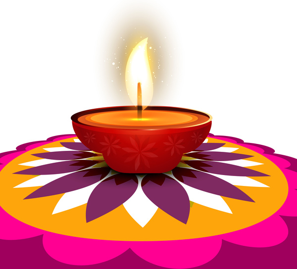 600x544 Beautiful Stylish Rangoli Happy Diwali Colorful Hindu Diya