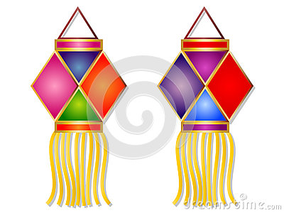 400x300 Cartoon Diwali Lantern Vector Illustration Clipart