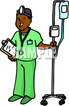 227x350 Cartoon Of An African American Doctor Pulling An Iv Stand