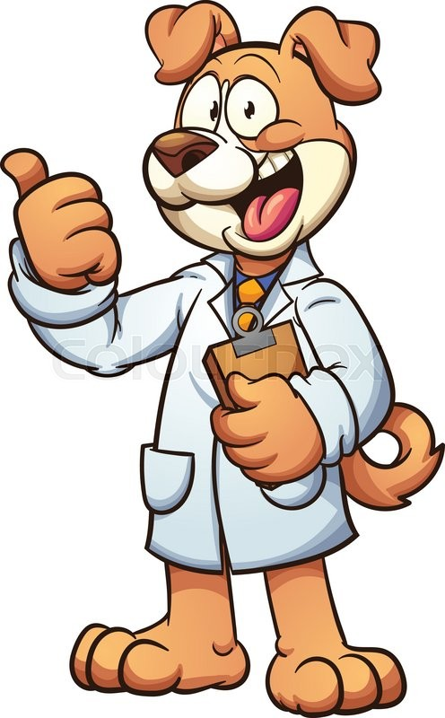 496x800 Dog Doctor Wearing A Medical Gown. Vector Clip Art Cartoon
