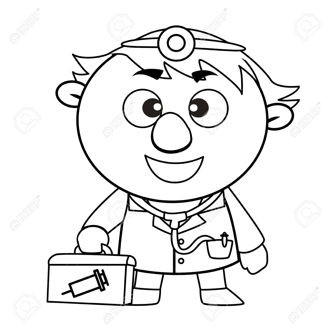 1300x1300 Black And White Coloring Page Outline Of A Doctor Royalty Free