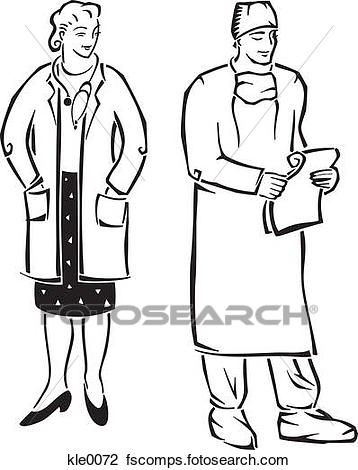 358x470 Clip Art Of A Doctor And A Surgeon Kle0072