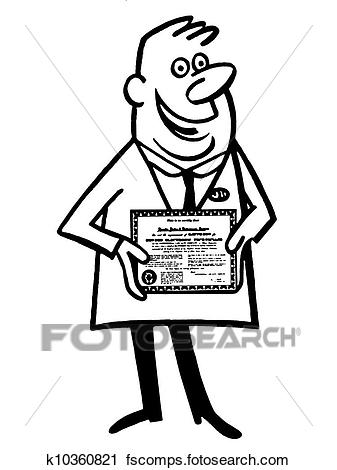 337x470 Clipart Of A Black And White Version Of A Cartoon Style