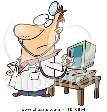 450x470 Royalty Free (Rf) Clip Art Illustration Of A Cartoon Computer